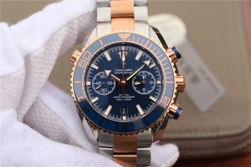 Omega Seamaster Planet Ocean 215.20.46.51.03.001 600m 18K Rose gold Chronograph OM 45mm On Two Tone Bracelet