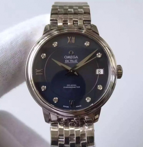 Omega De Ville Prestige 424.10.33.20.53.001 Case 32.7mm MKF  Blue Dial Diamond Marker On Stainless Steel Bracelet 2824