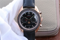 Omega Speedmaster 304.63.44.52.01.001 Moonphase Chronograph 18K Rosegold Case BF Black Dial Black Leather Strap 9301