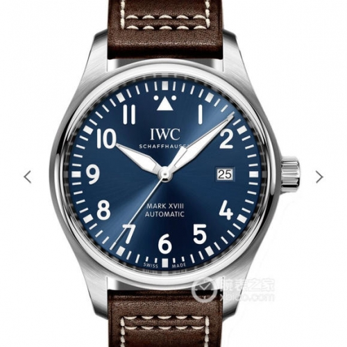 "IWC Schaffhausen Pilot IW327004 Mark XVIII Stainless Steel ""Le Petit Prince"" V7 Factory Blue Dial Brown Santoni Strap Real Swiss ETA 2892"