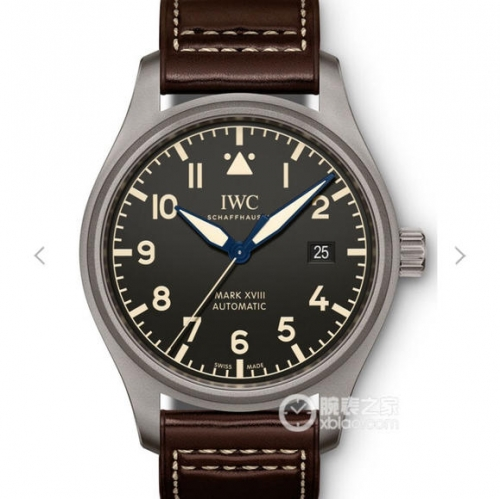 IWC SchaffhausenPilot IW327006 Mark XVIII Heritage Titanium Case GS Factory Best Edition Black Dial Brown Leather Strap Swiss 2892