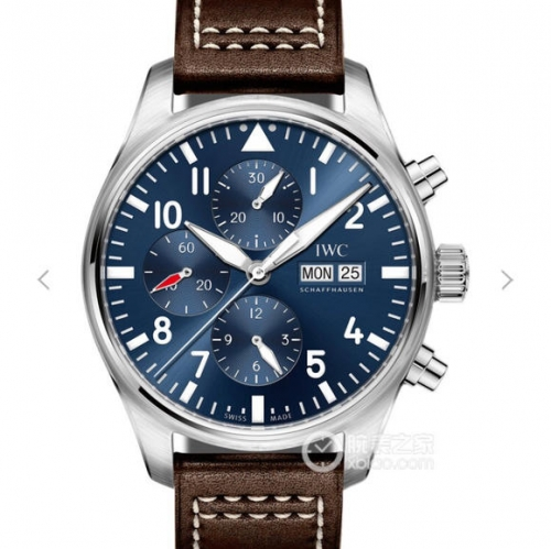 "IWC Pilot Chronograph Stainless Steel 2016 IW377714 ""Le Petit Prince"" ZF 1:1 Best Edition Blue Dial on Brown Leather Strap 7750"