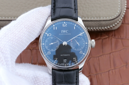 IWC Schaffhausen Portuguese Real PR IW500705 ZF Stainless Steel V4 Best Edition White Dial Blue Markers Blue Leather Strap Swiss 52010