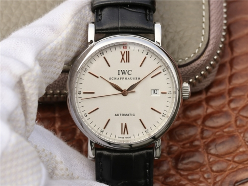 IWC Schaffhausen Portofino IW356517 Automatic Stainless White Dial Gold Marker MKS 1:1 Best Edition Black Leather Strap 2892