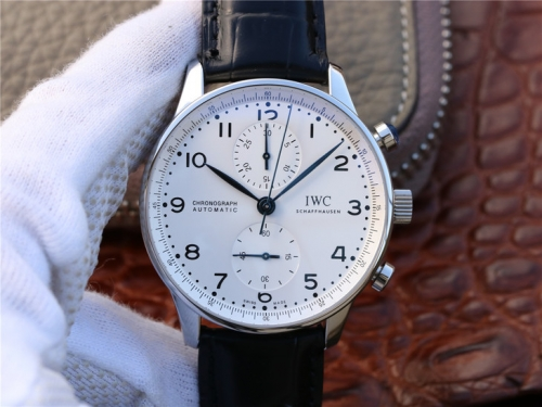 IWC Schaffhausen Portuguese IW371602 150 Years Edition Chronograph Stainless Case YLF  White dial Black Leather Strap 69355