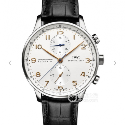 IWC Schaffhausen Portuguese Chronograph Stainless Steel Case IW371445 White Dial Gold Marker ZF Brown Leather Strap A79350