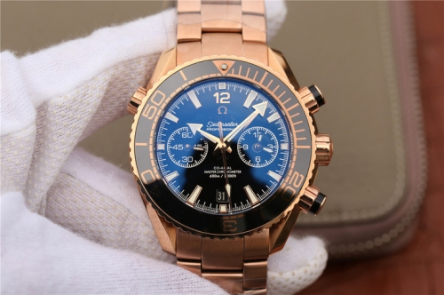 Omega Seamaster Planet Ocean 215.23.46.51.03.001 600m Two Tone 18K Rosegold Chronograph OMF 45mm 2016 Rose gold  Strap 9901