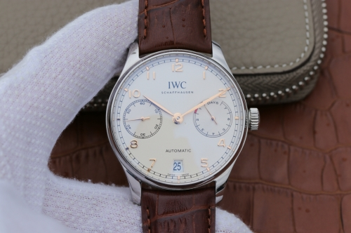 IWC Schaffhausen Portuguese Real PR IW500107 Stainless Steel Case ZF V4 1:1 Best Edition on Brown Leather Strap Swiss 52010
