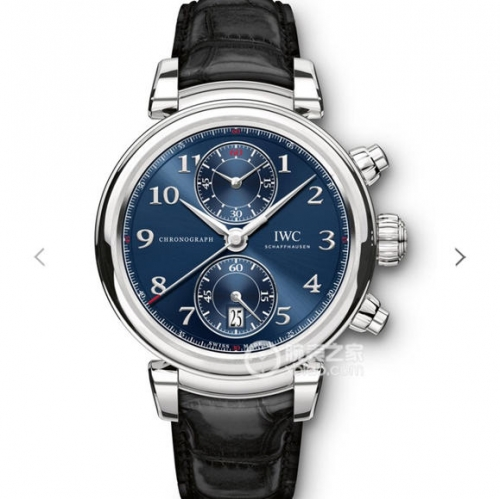 IWC SchaffhausenDa Vinci IW393402 Chronograph 42mm Laureus Sport Edt ZF 1:1 Blue Dial on Black Leather Strap Cal.89361