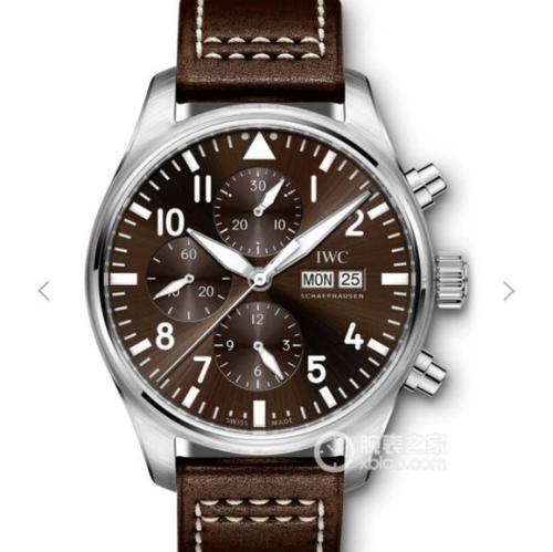 IWC SchaffhausenPilot Chronograph IW377713 Stainless Steel Case ZF 1:1 Best Edition Brown Dial on Brown Leather Strap Swiss 7750