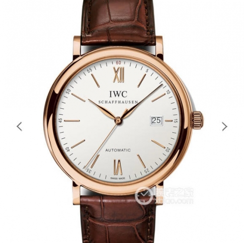 IWC Schaffhausen Portofino IW356504 Automatic 18K Rosegold Case Boutique Edition MKS White Dial on Brown Leather 2892