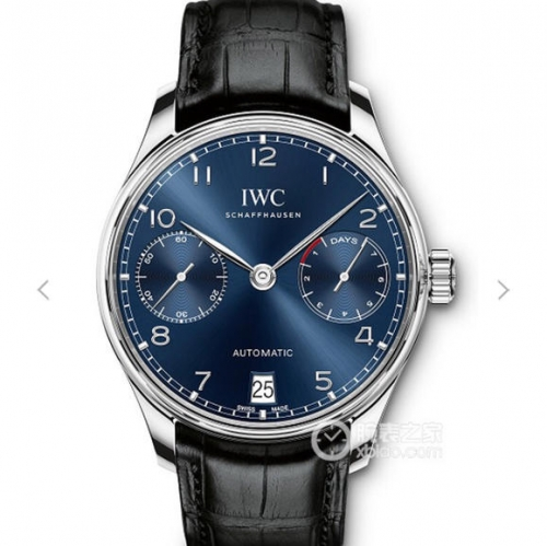 IWC SchaffhausenPortuguese Real PR IW500710 V4 Stainless Steel Case ZF 1:1 Best Edition Blue Dial on Black Leather Strap Swiss 52010
