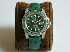 Rolex Submariner 904L Stainless Steel 116610 LV Green Emerald Noob V8S Best Edition on Green Crocodile Leather Strap 2836