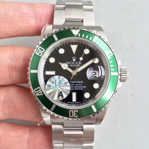 Replica Rolex Submariner Date 16610LV 50TH Anniversary JF Stainless Steel Black Dial swiss 2836