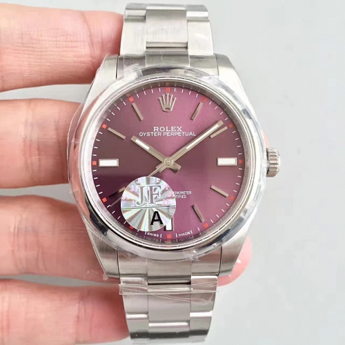 Rolex Oyster Perpetual 114300 39mm Stainless Steel Case JF1:1 Best Edition Purple Dial on Stainless Steel Bracelet Swiss 3132