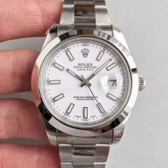 Rolex DateJust II 116300 41mm EW Factory 1:1 Stainless Steel Case Smooth Bezel White Dial On Stainless Steel Bracelet Swiss 3136