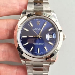 Rolex DateJust II 116300 41mm EW Factory 1:1 Stainless Steel Case Smooth Bezel blue Dial On Stainless Steel Bracelet Swiss 3136