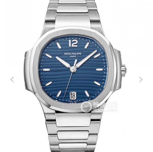 Patek Philippe Nautilus Lady 7118/1A-001 Stainless Case PF 1:1 Best Edition Blue Textured Dial on Stainless Steel Bracelet Swiss 324 S C