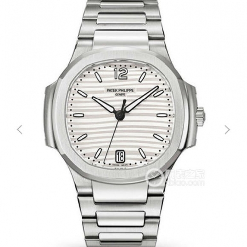 Patek Philippe Nautilus Lady 7118/1A-010 Stainless Steel Case PF 1:1 Best Edition White Textured Dial on Stainless Steel Bracelet Swiss 324