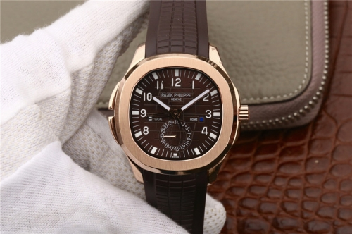 Patek Philippe Aquanaut Dual Time 5164R-001 18K Rosegold Plated Case MP Factory Brown Textured Dial on Brown Rubber Strap Swiss 324S C