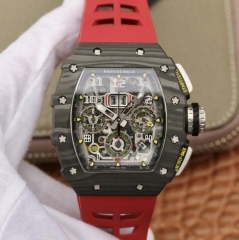 Richard Mille RM011 NTPT Carbon Chronograph KV Forged Carbon Red Skeleton Dial Swiss 7750