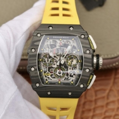 Richard Mille RM011 NTPT Carbon Chronograph KV Forged Carbon yellow Skeleton Dial Swiss 7750