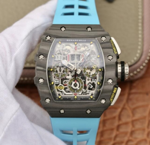Richard Mille RM011 NTPT Carbon Chronograph KV Forged Carbon blue Skeleton Dial Swiss 7750