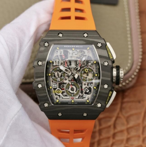 Replica Richard Mille RM011-03 Flyback Chronograph KV Forged Carbon Skeleton Dial Swiss 7750