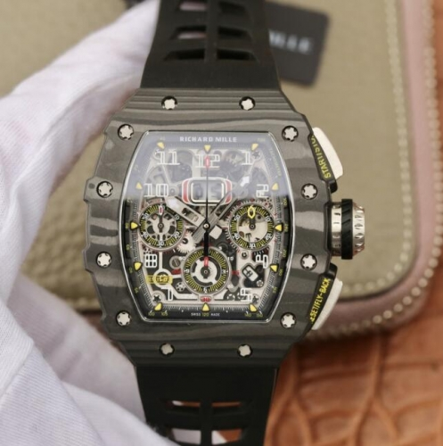 Richard Mille KV Factory RM011-03 Automatic Flyback Chronograph RM011-03 Flyback Chrono FC/RU (Black) KVF A7750 Mod