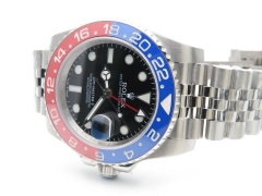 ROLEX DJ Factory GMT163A - GMT II 126710 Pepsi 904L SS/SS DJF Asia 3186 Hand Adjustable Correct Hand Stack Movement