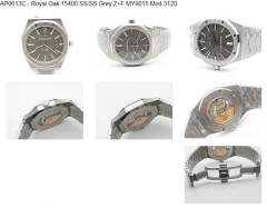 Royal Oak 15400 SS/SS Grey Z+F MY9015 Mod 3120  Z+F Factory AP Ref.15400 Royal Oak in Stainless Steel