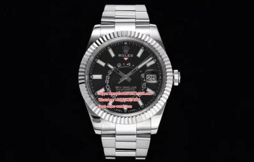 ROLEX Noob Factory Best Skydweller 1 : 1 Made to Date Bezel can be turned manually to adjust the month 326934 SS/SS Black Noob Asian 23J
