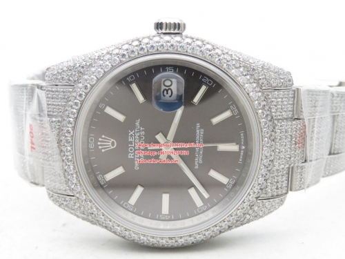 ROLEX Full Diamond Crested Stainless Steel 36mm DateJust  DJ 36mm Jub Flt 904L Diam SS/SS Grey/Stk A2824