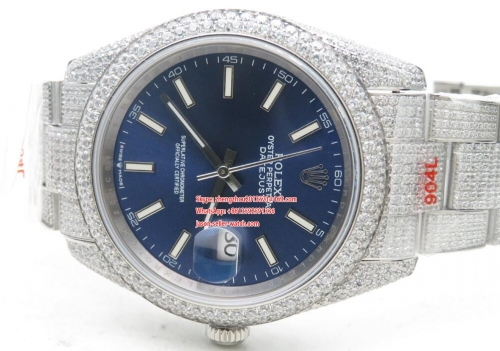 ROLEX  DJ 36mm Jub Flt 904L Diam SS/SS Blue/Stk A2824 Full Diamond Crested Stainless Steel 36mm DateJust