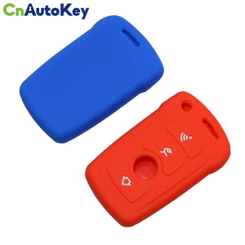 SCC006012 Car Stying Silicon Key Fob Case Cover Set New Skin For BMW 3 5 7 Series 3 Buttons Remote Keyless Entry