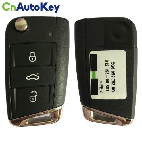 CN001090 ORIGINAL Flip Key for VW 3 Buttons  434MHz  MEGAMOS 88 AES MQB  Part No 5G6 959 752AG