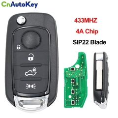 CN017012 Flip Key for Fiat tipo 4Buttons 434MHz Hitag AES VIRGIN Blade SIP22