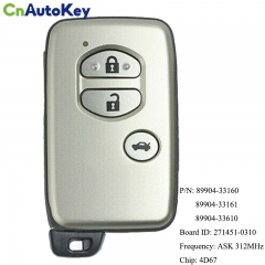 CN007180 For Toyota Camry Crown Majesta Markx Smart Key 312Mhz 4D-67 Transponder Chip Fcc Id Page1 D4 89904-33610 89904-33160 271451-0310 2006 Mark X