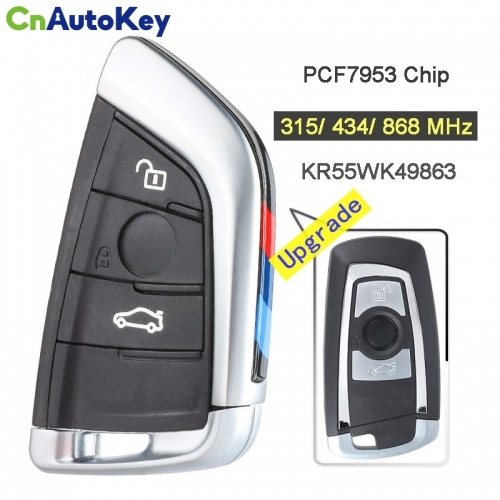 CN006095 315 434 868MHz PCF7953 Chip CAS4+FEM KR55WK49863 Upgraded 3 Button Remote Key Fob for BMW 1 2 3 4 5 6 7 Series X3 M2