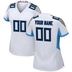Women Custom Football Jersey Embroidered Team Name & Number -White FTW049