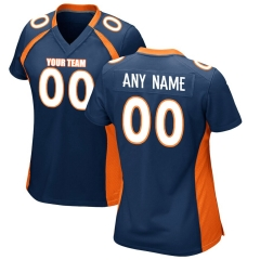 Women Custom Football Jersey Embroidered Team Name & Number -Dark Blue FTW051