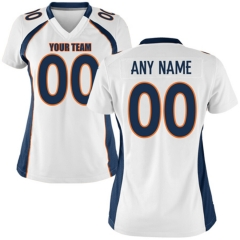 Women Custom Football Jersey Embroidered Team Name & Number -White FTW040