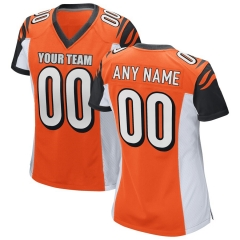 Women Custom Football Jersey Embroidered Team Name & Number -Orange FTW032