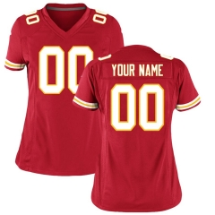 Women Custom Football Jersey Embroidered Team Name & Number -Red  FTW067