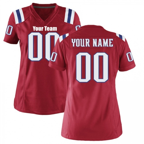 Women Custom Football Jersey Embroidered Team Name & Number -Red  FTW068
