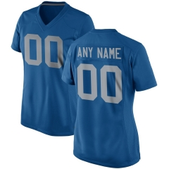 Women Custom Football Jersey Embroidered Team Name & Number - Blue  FTW053