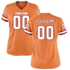 Women Custom Football Jersey Embroidered Team Name & Number -Orange FTW035