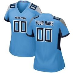 Women Custom Football Jersey Embroidered Team Name & Number - Blue  FTW061