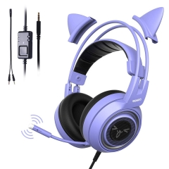 SOMIC G951S Purple Stereo Gaming Headset with Mic for PS4, Xbox One, PC, Phone, Detachable Cat Ear 3.5MM Noise Reduction Headphones Lightweight Comput