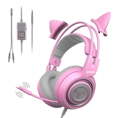 SOMIC G951s Pink Stereo Gaming Headset with Mic for PS4, Xbox One, PC, Mobile Phone, 3.5MM Sound Detachable Cat Ear Headphones Lightweight Self-Adjust